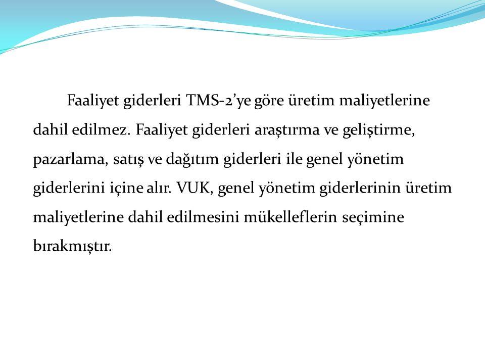 Faaliyet giderleri TMS-2'ye göre üretim maliyetlerine dahil edilmez.