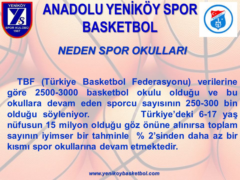 ANADOLU YENİKÖY SPOR BASKETBOL NEDEN SPOR OKULLARI NEDEN SPOR OKULLARI TBF (Türkiye Basketbol Federasyonu) verilerine göre 2500-3000 basketbol okulu o