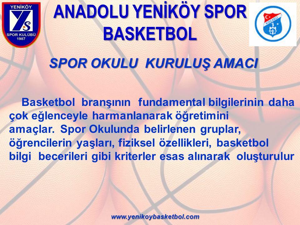 ANADOLU YENİKÖY SPOR BASKETBOL SPOR OKULU KURULUŞ AMACI Basketbol branşının fundamental bilgilerinin daha çok eğlenceyle harmanlanarak öğretimini amaç