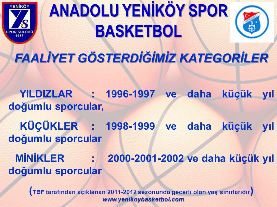 ANADOLU YENİKÖY SPOR BASKETBOL FAALİYET GÖSTERDİĞİMİZ KATEGORİLER YILDIZLAR: 1996-1997 ve daha küçük yıl doğumlu sporcular, KÜÇÜKLER: 1998-1999 ve dah