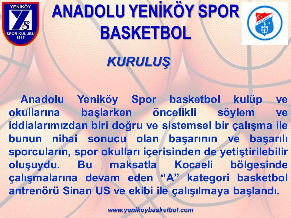 KURULUŞ KURULUŞ Anadolu Yeniköy Basketbol Okulu içerisinde hızlı gelişim gösteren, fiziksel yapıları, algılama kabiliyetleri ve yetenekleriyle dikkat çeken sporcuların, hafta sonlarına ek olarak hafta içi de antrenman yapmasına olanak sağlayan bir sistem kurgulandı.