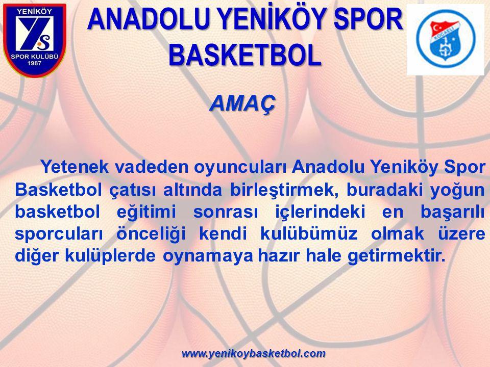 ANADOLU YENİKÖY SPOR BASKETBOL AMAÇ AMAÇ Anadolu Yeniköy Spor Basketbol'a katılma şansı yakalayan tüm sporcuların amacı birçok aşamadan geçerek doğal elenme süreçleri sonunda Anadolu Yeniköy Spor Kulübü takımlarında yer alabilmektir.