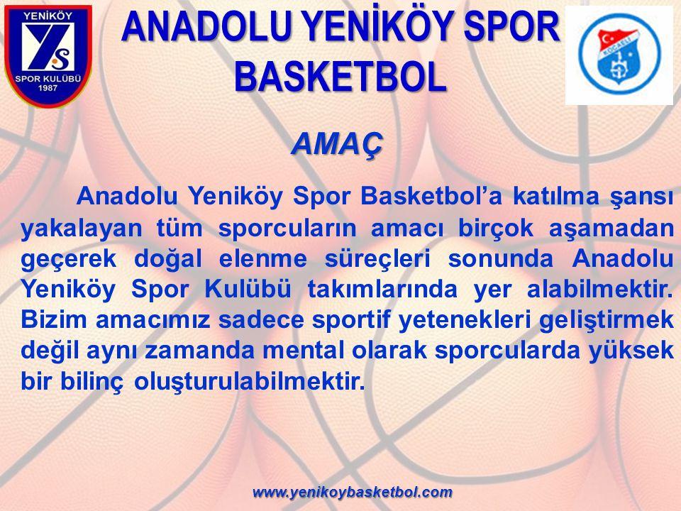 ANADOLU YENİKÖY SPOR BASKETBOL AMAÇ AMAÇ Anadolu Yeniköy Spor Basketbol'a katılma şansı yakalayan tüm sporcuların amacı birçok aşamadan geçerek doğal