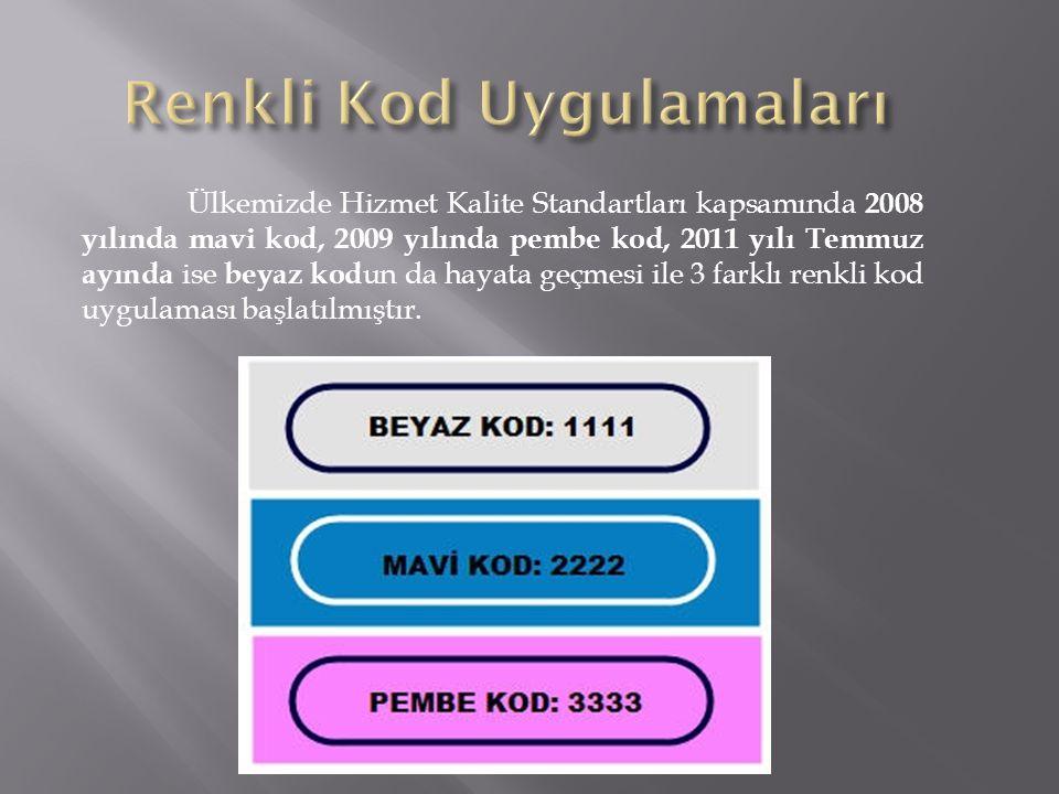 Ülkemizde Hizmet Kalite Standartları kapsamında 2008 yılında mavi kod, 2009 yılında pembe kod, 2011 yılı Temmuz ayında ise beyaz kod un da hayata geçmesi ile 3 farklı renkli kod uygulaması başlatılmıştır.