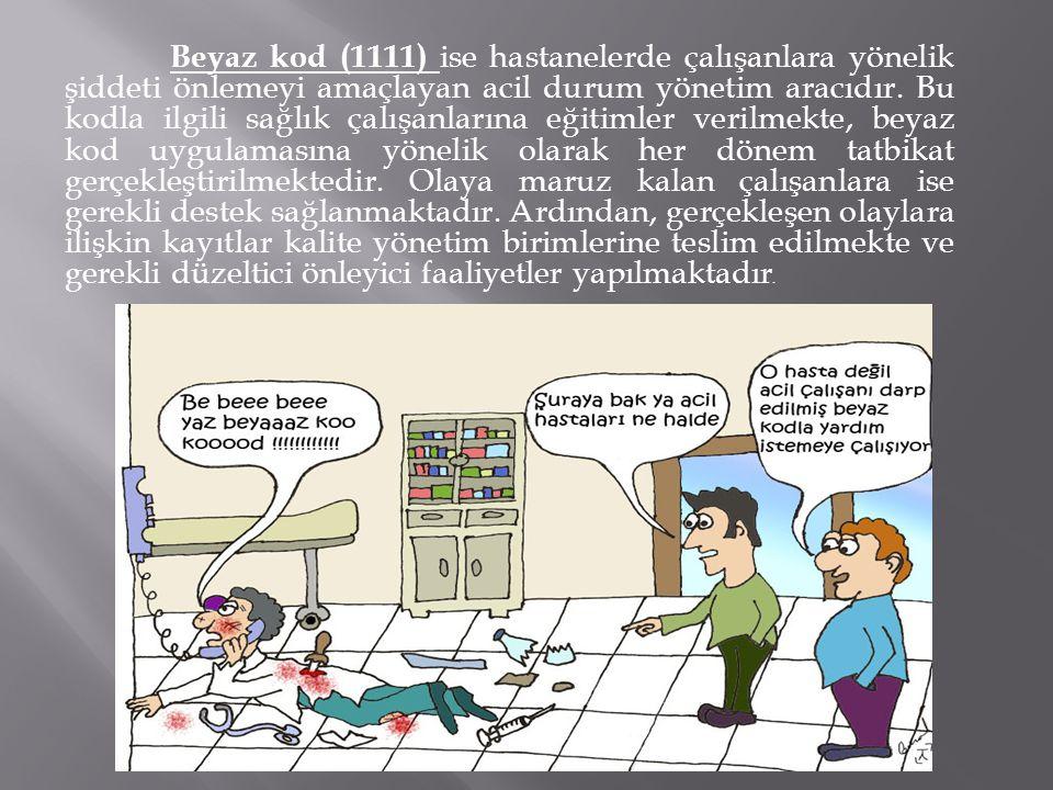 Beyaz kod (1111) ise hastanelerde çalışanlara yönelik şiddeti önlemeyi amaçlayan acil durum yönetim aracıdır.