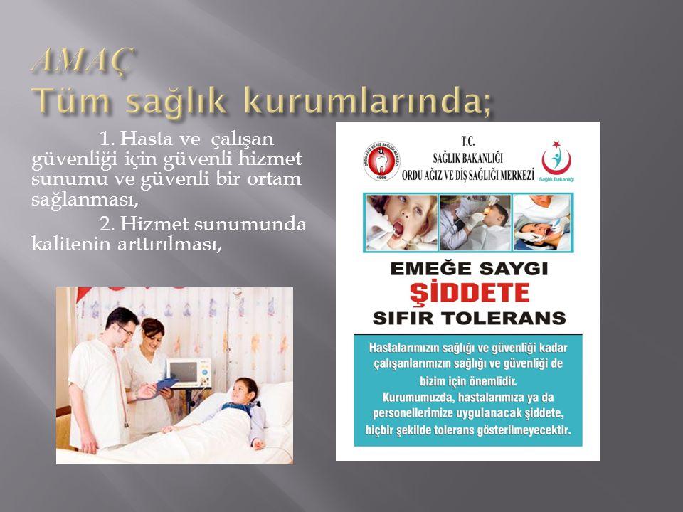 1.Hasta ve çalışan güvenliği için güvenli hizmet sunumu ve güvenli bir ortam sağlanması, 2.