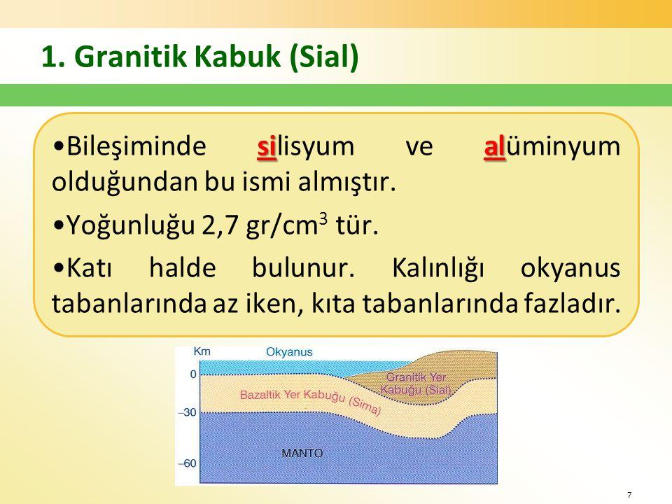 1.Granitik Kabuk (Sial) sial •Bileşiminde silisyum ve alüminyum olduğundan bu ismi almıştır.