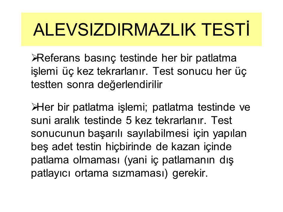 Referans basınç testinde her bir patlatma işlemi üç kez tekrarlanır. Test sonucu her üç testten sonra değerlendirilir  Her bir patlatma işlemi; pat