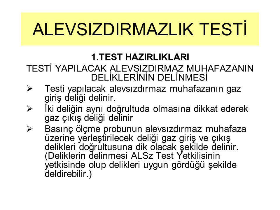 1.TEST HAZIRLIKLARI TESTİ YAPILACAK ALEVSIZDIRMAZ MUHAFAZANIN DELİKLERİNİN DELİNMESİ  Testi yapılacak alevsızdırmaz muhafazanın gaz giriş deliği deli