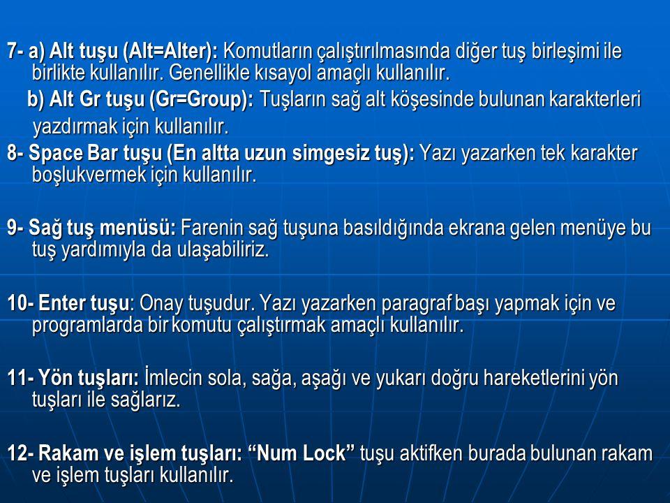 13- Num Lock tuşu: Rakam ve işlem tuşları nı kullanmak için Num Lock tuşunun aktif edilmesi gerekir.