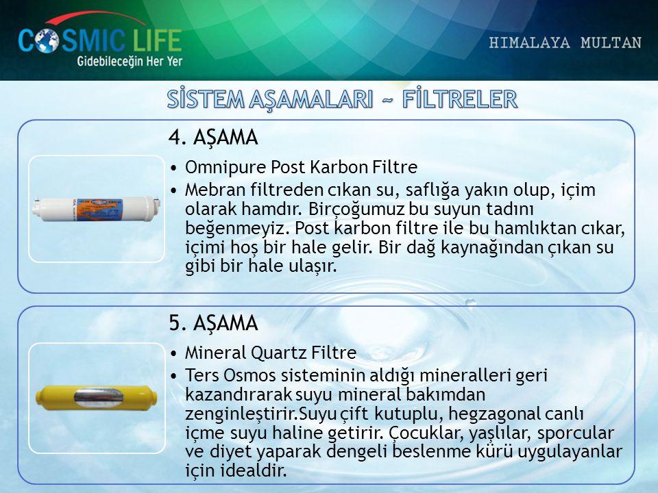 4. AŞAMA •Omnipure Post Karbon Filtre •Mebran filtreden cıkan su, saflığa yakın olup, içim olarak hamdır. Birçoğumuz bu suyun tadını beğenmeyiz. Post