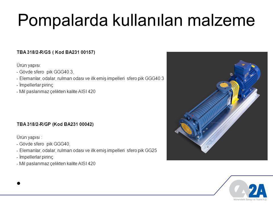 Pompalarda kullanılan malzeme TBA 318/2-R/GS ( Kod BA231 00157) Ürün yapısı: - Gövde sfero pik GGG40.3, - Elemanlar, odalar, rulman odası ve ilk emiş