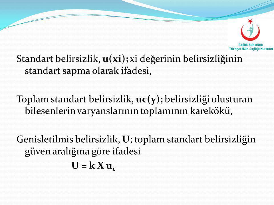 Standart belirsizlik, u(xi); xi değerinin belirsizliğinin standart sapma olarak ifadesi, Toplam standart belirsizlik, uc(y); belirsizliği olusturan bi