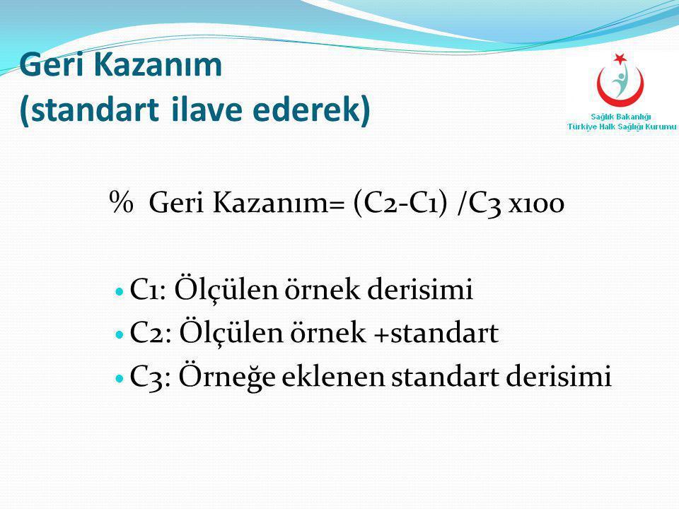 Geri Kazanım (standart ilave ederek) % Geri Kazanım= (C2-C1) /C3 x100  C1: Ölçülen örnek derisimi  C2: Ölçülen örnek +standart  C3: Örneğe eklenen