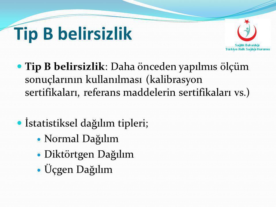 Tip B belirsizlik: Daha önceden yapılmıs ölçüm sonuçlarının kullanılması (kalibrasyon sertifikaları, referans maddelerin sertifikaları vs.)  İstati