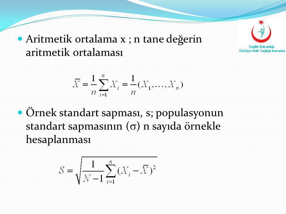 Aritmetik ortalama x ; n tane değerin aritmetik ortalaması  Örnek standart sapması, s; populasyonun standart sapmasının (  ) n sayıda örnekle hesa