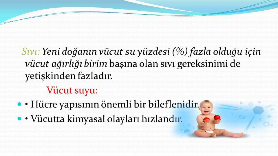 Sıvı: Yeni doğanın vücut su yüzdesi (%) fazla olduğu için vücut ağırlığı birim başına olan sıvı gereksinimi de yetişkinden fazladır.