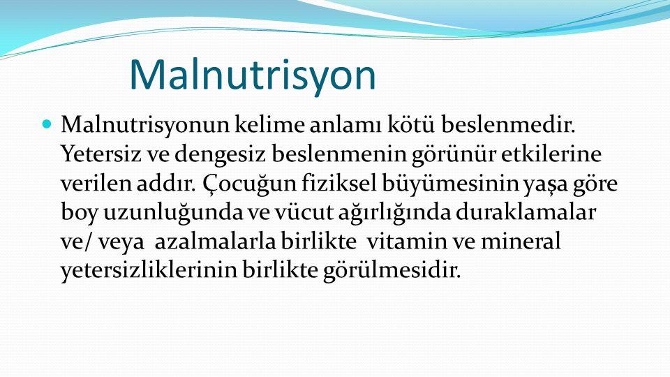 Malnutrisyon  Malnutrisyonun kelime anlamı kötü beslenmedir.