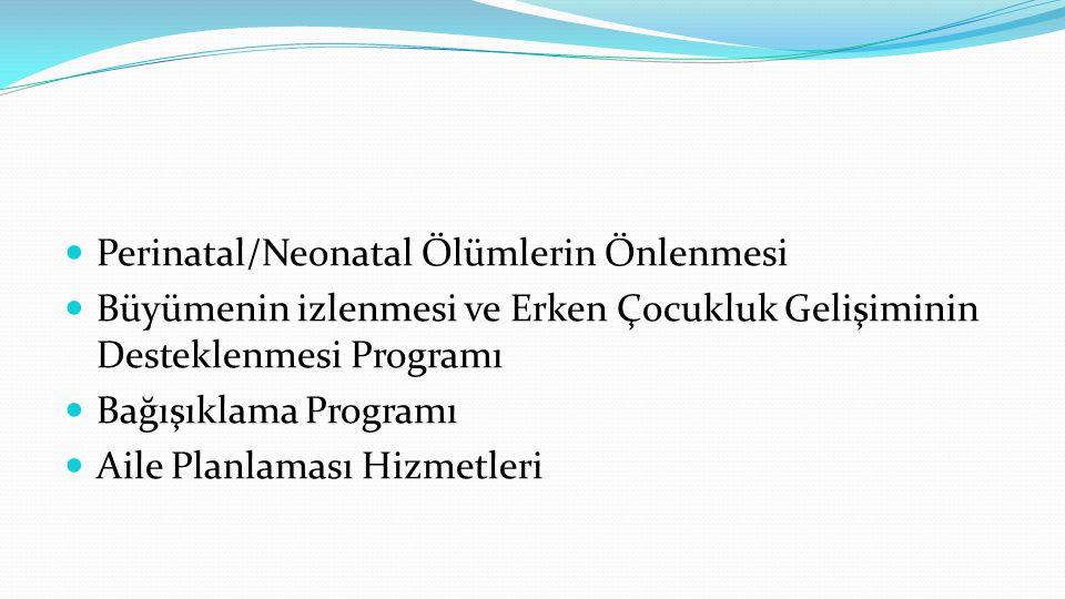  Perinatal/Neonatal Ölümlerin Önlenmesi  Büyümenin izlenmesi ve Erken Çocukluk Gelişiminin Desteklenmesi Programı  Bağışıklama Programı  Aile Planlaması Hizmetleri