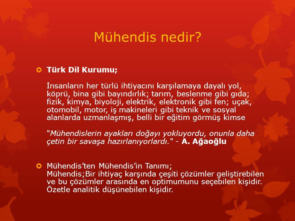 Mühendis nedir?  Türk Dil Kurumu; İnsanların her türlü ihtiyacını karşılamaya dayalı yol, köprü, bina gibi bayındırlık; tarım, beslenme gibi gıda; fi