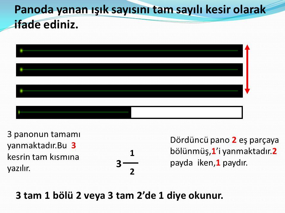 Panoda yanan ışık sayısını tam sayılı kesir olarak ifade ediniz. 3 panonun tamamı yanmaktadır.Bu 3 kesrin tam kısmına yazılır. 3 Dördüncü pano 2 eş pa