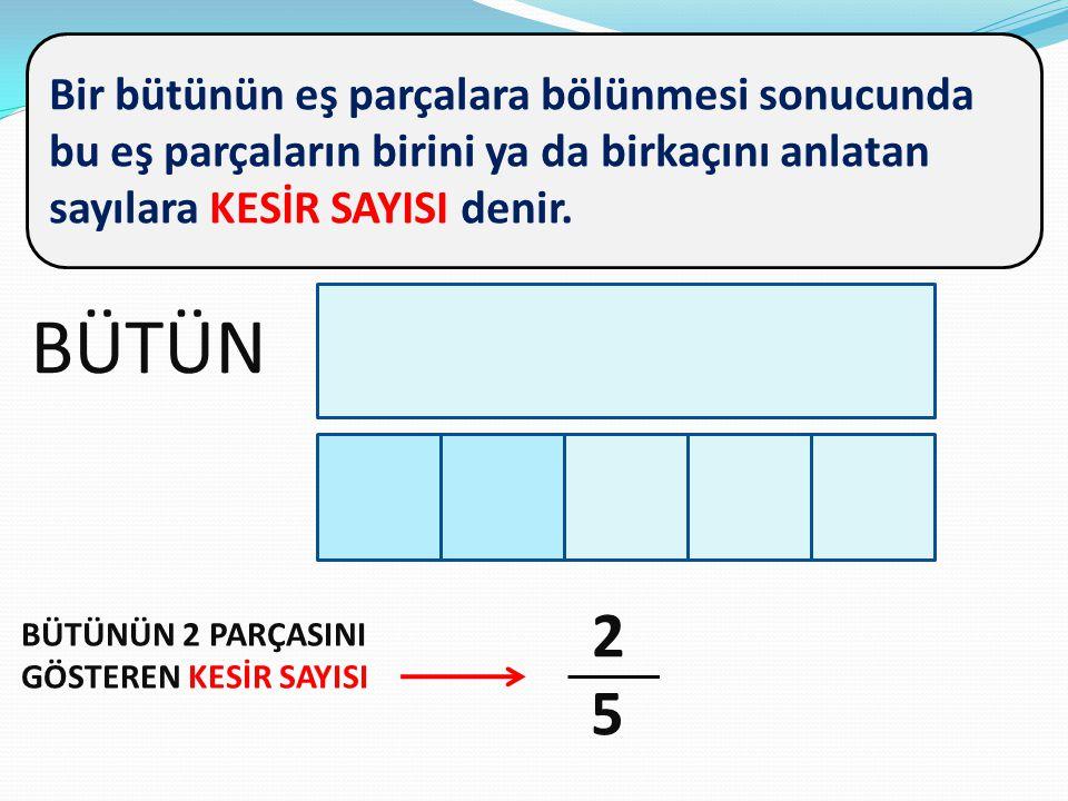 Bir bütünün eş parçalara bölünmesi sonucunda bu eş parçaların birini ya da birkaçını anlatan sayılara KESİR SAYISI denir. BÜTÜN BÜTÜNÜN 2 PARÇASINI GÖ
