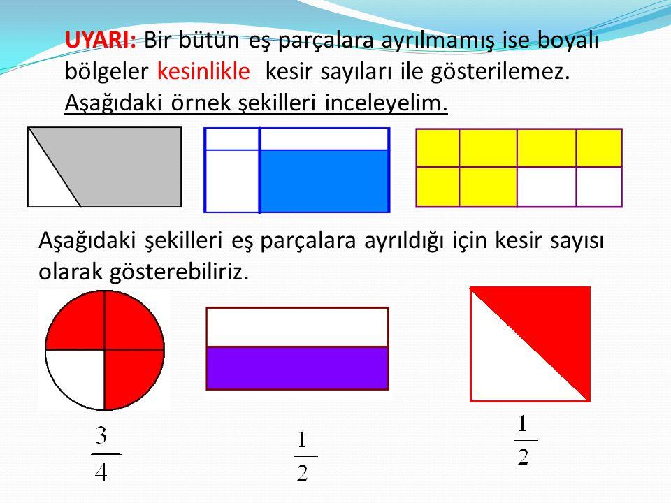 UYARI: Bir bütün eş parçalara ayrılmamış ise boyalı bölgeler kesinlikle kesir sayıları ile gösterilemez. Aşağıdaki örnek şekilleri inceleyelim. Aşağıd