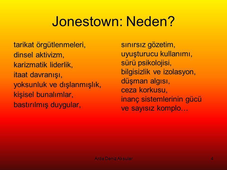 4 Jonestown: Neden? tarikat örgütlenmeleri, dinsel aktivizm, karizmatik liderlik, itaat davranışı, yoksunluk ve dışlanmışlık, kişisel bunalımlar, bast