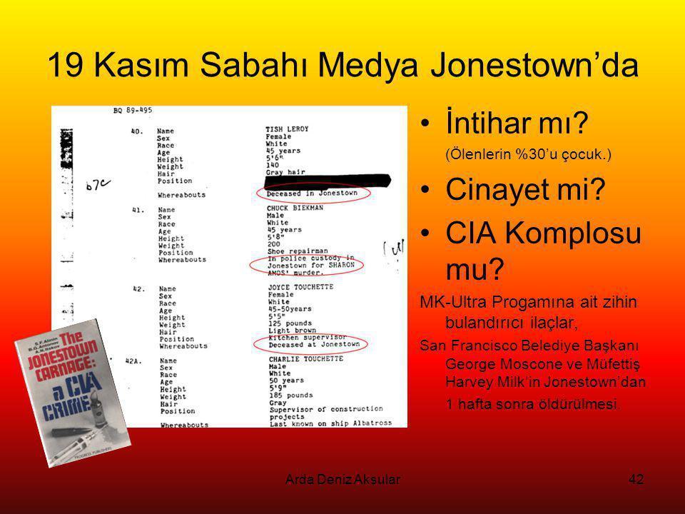 Arda Deniz Aksular42 19 Kasım Sabahı Medya Jonestown'da •İntihar mı? (Ölenlerin %30'u çocuk.) •Cinayet mi? •CIA Komplosu mu? MK-Ultra Progamına ait zi