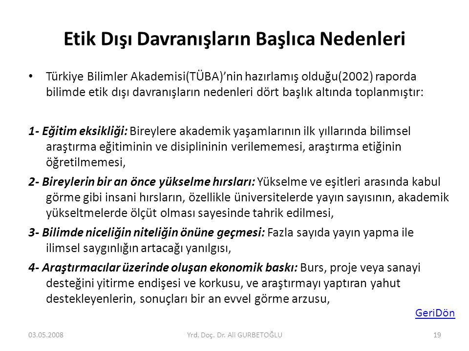 Etik Dışı Davranışların Başlıca Nedenleri • Türkiye Bilimler Akademisi(TÜBA)'nin hazırlamış olduğu(2002) raporda bilimde etik dışı davranışların neden