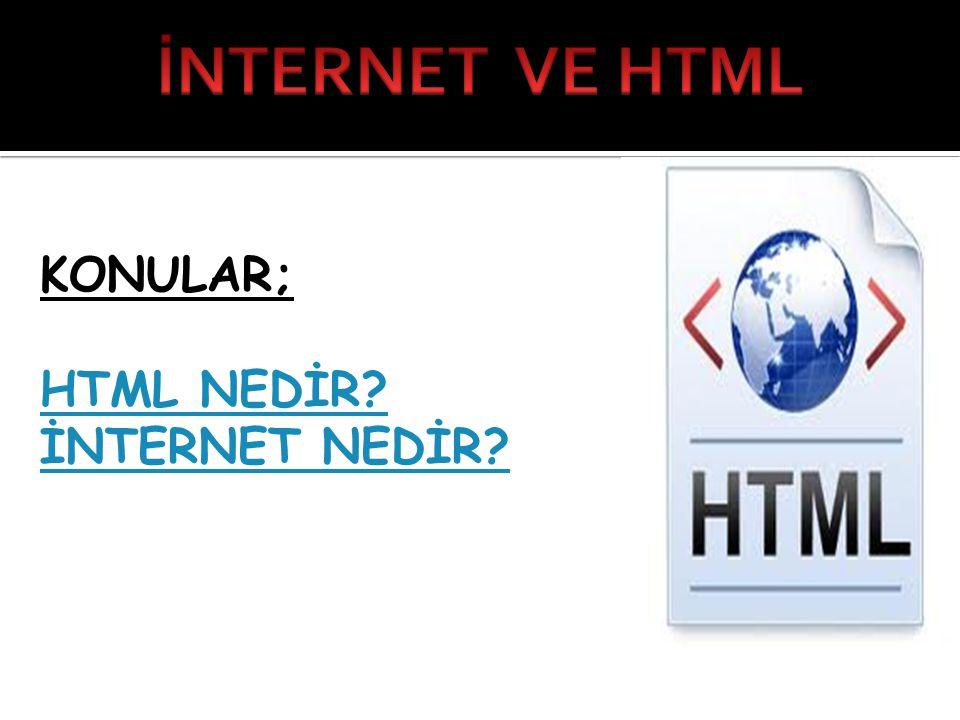 KONULAR; HTML NEDİR? İNTERNET NEDİR?