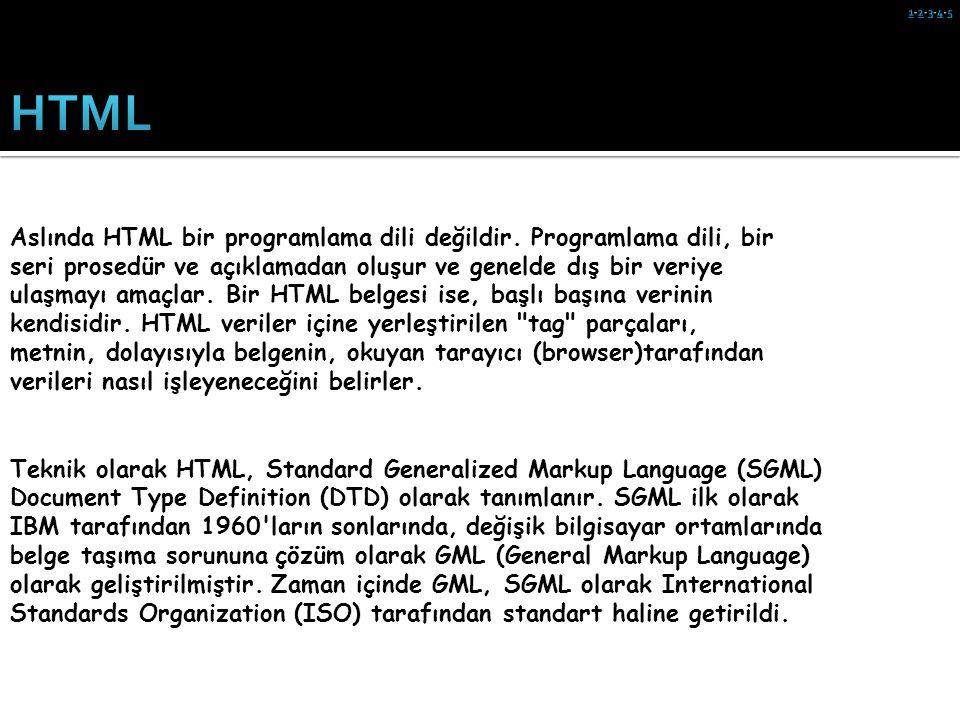 Aslında HTML bir programlama dili değildir. Programlama dili, bir seri prosedür ve açıklamadan oluşur ve genelde dış bir veriye ulaşmayı amaçlar. Bir