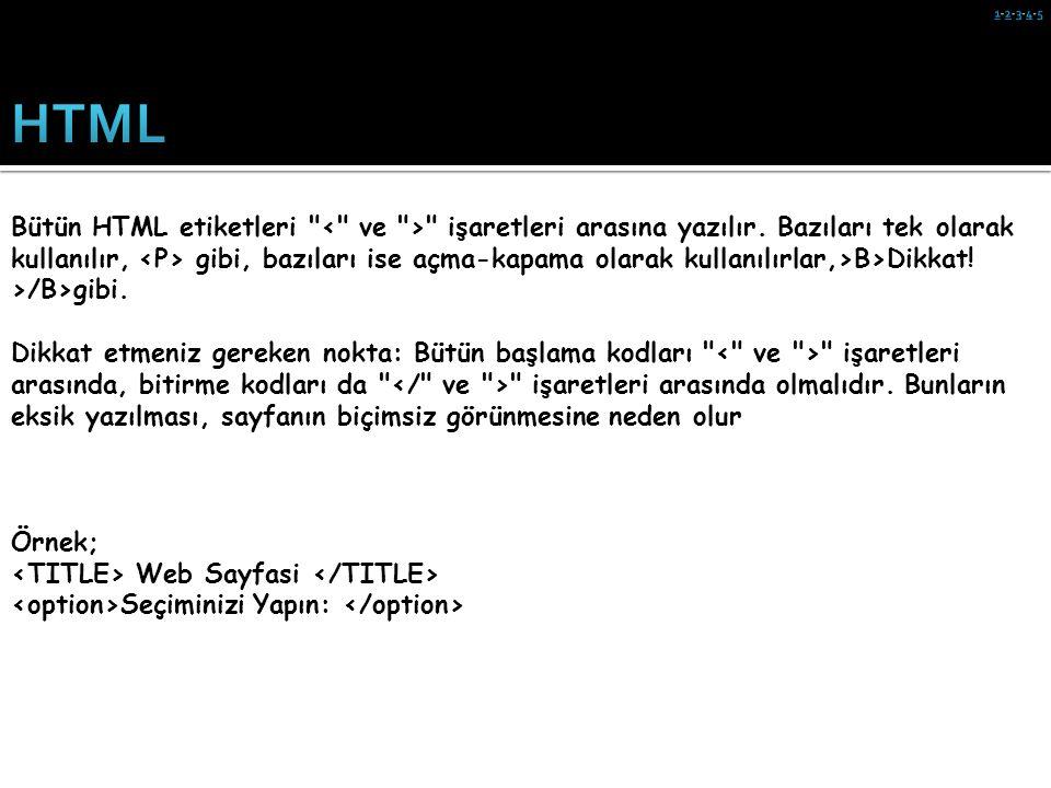HTML kodlarını görebilmek için Internet Explorer da View menüsünden Source (Görünüm/Kaynak) menüsünü tıklayın.