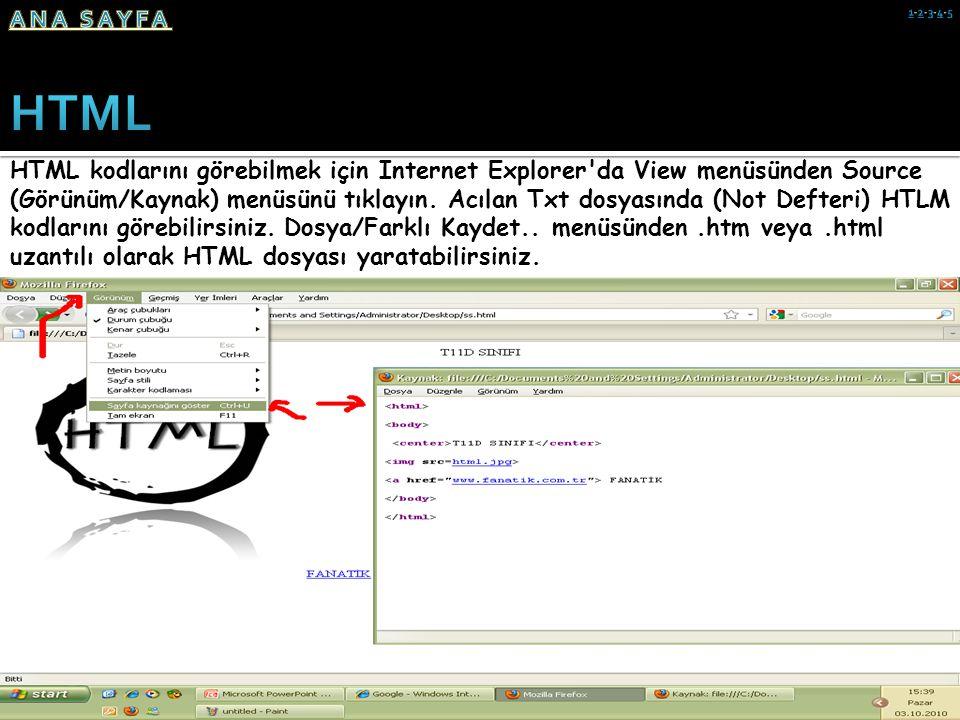 HTML kodlarını görebilmek için Internet Explorer'da View menüsünden Source (Görünüm/Kaynak) menüsünü tıklayın. Acılan Txt dosyasında (Not Defteri) HTL