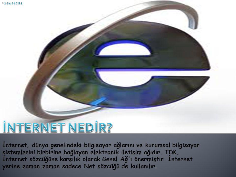 İnternet, dünya genelindeki bilgisayar ağlarını ve kurumsal bilgisayar sistemlerini birbirine bağlayan elektronik iletişim ağıdır. TDK, İnternet sözcü