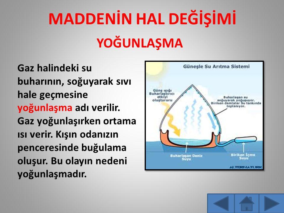 MADDENİN HAL DEĞİŞİMİ Gaz halindeki su buharının, soğuyarak sıvı hale geçmesine yoğunlaşma adı verilir.