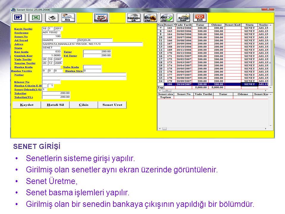 SENET GİRİŞİ •Senetlerin sisteme girişi yapılır. •Girilmiş olan senetler aynı ekran üzerinde görüntülenir. •Senet Üretme, •Senet basma işlemleri yapıl