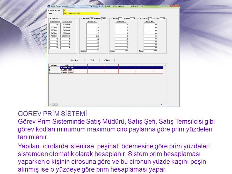 GÖREV PRİM SİSTEMİ Görev Prim Sisteminde Satış Müdürü, Satış Şefi, Satış Temsilcisi gibi görev kodları minumum maximum ciro paylarına göre prim yüzdeleri tanımlanır.