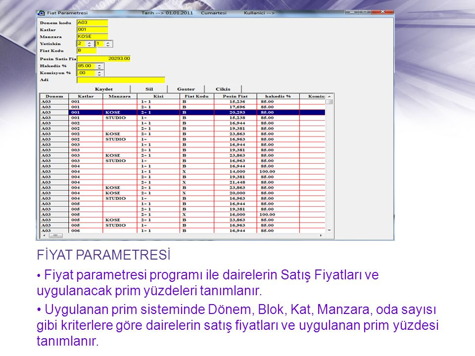 FİYAT PARAMETRESİ • Fiyat parametresi programı ile dairelerin Satış Fiyatları ve uygulanacak prim yüzdeleri tanımlanır. • Uygulanan prim sisteminde Dö