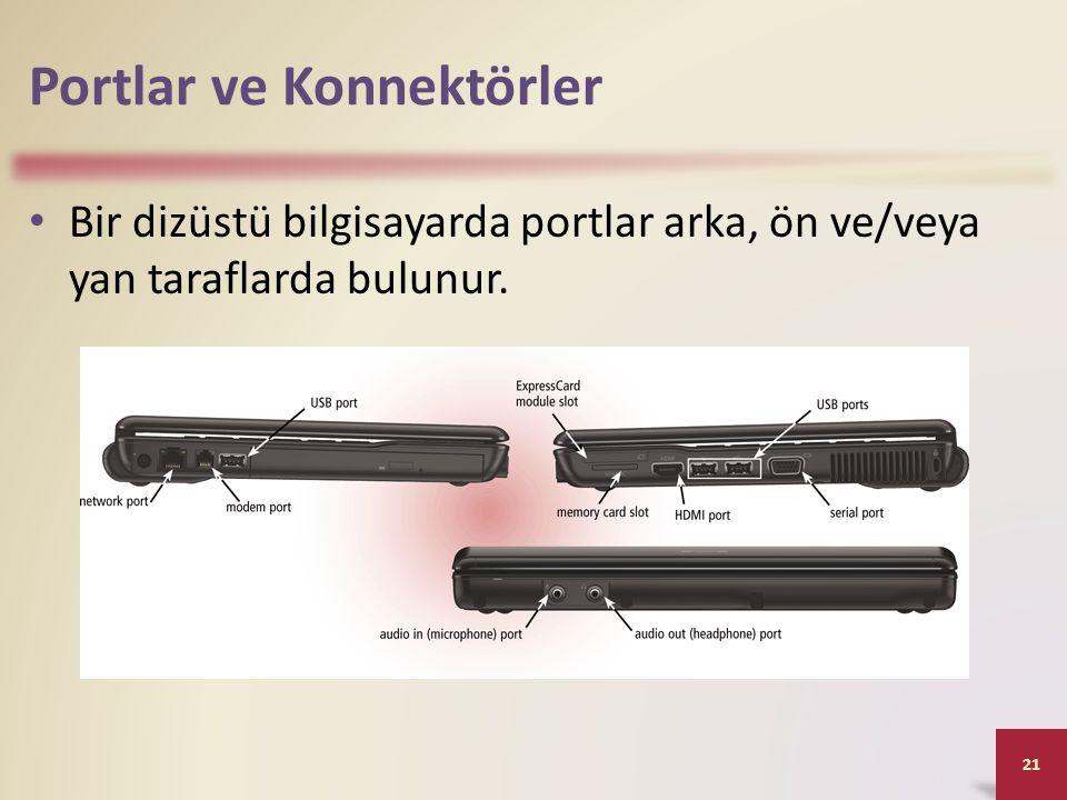 Portlar ve Konnektörler • Bir dizüstü bilgisayarda portlar arka, ön ve/veya yan taraflarda bulunur. 21