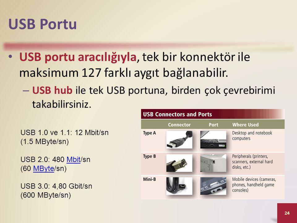 USB Portu • USB portu aracılığıyla, tek bir konnektör ile maksimum 127 farklı aygıt bağlanabilir. – USB hub ile tek USB portuna, birden çok çevrebirim