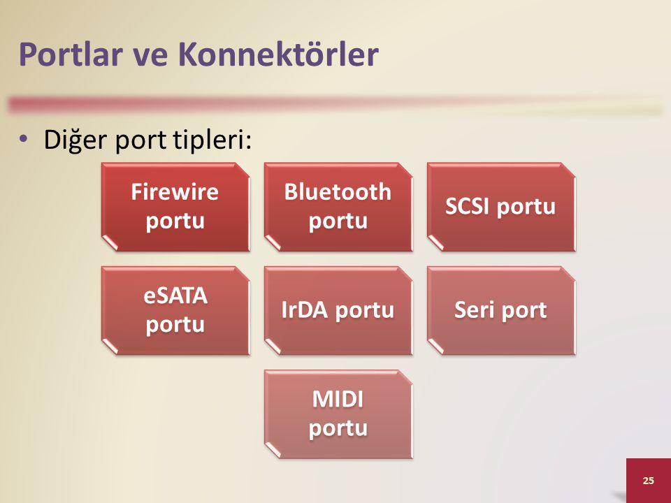 Portlar ve Konnektörler • Diğer port tipleri: 25 Firewire portu Bluetooth portu SCSI portu eSATA portu IrDA portuSeri port MIDI portu