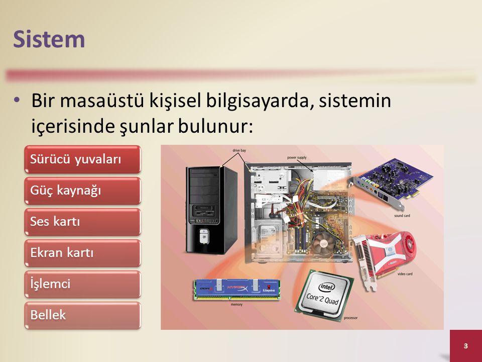 Sistem • Bir masaüstü kişisel bilgisayarda, sistemin içerisinde şunlar bulunur: 3 Sürücü yuvalarıGüç kaynağıSes kartıEkran kartıİşlemciBellek