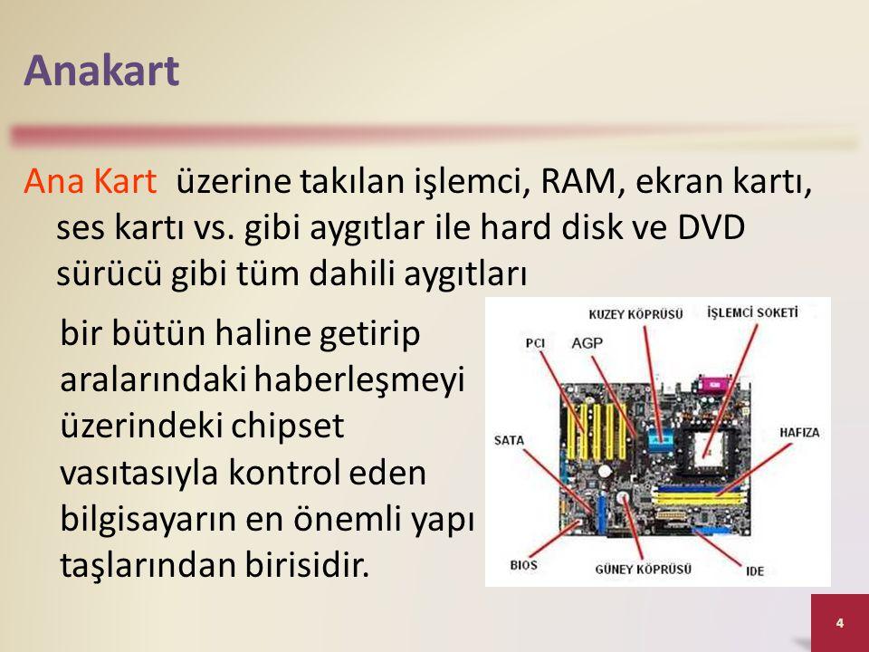 Anakart Ana Kart üzerine takılan işlemci, RAM, ekran kartı, ses kartı vs. gibi aygıtlar ile hard disk ve DVD sürücü gibi tüm dahili aygıtları 4 bir bü