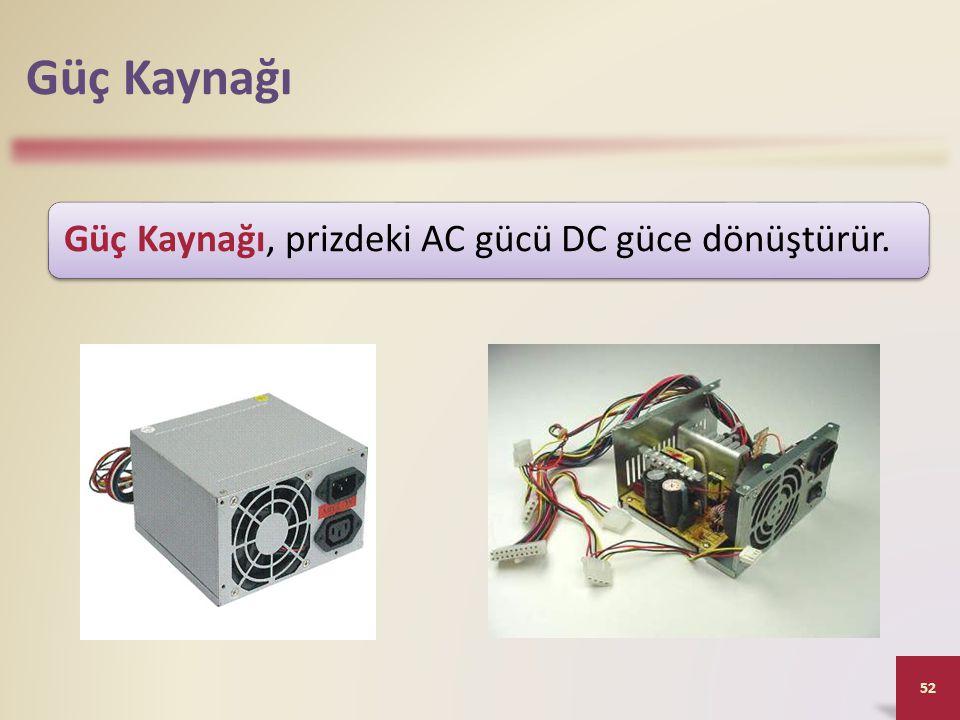 Güç Kaynağı 52 Güç Kaynağı, prizdeki AC gücü DC güce dönüştürür.