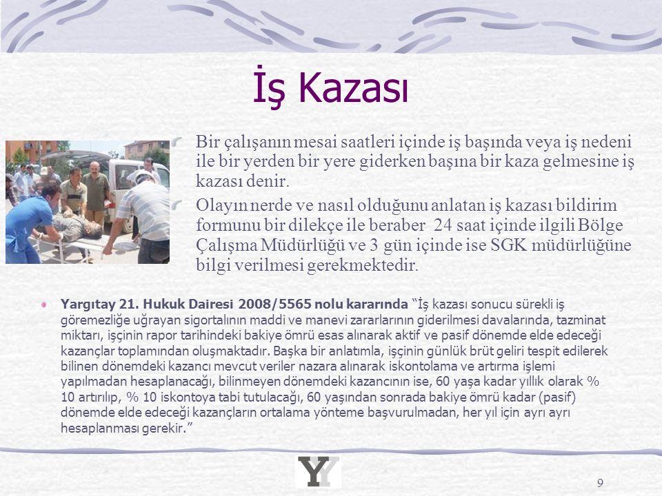"""İş Kazası Yargıtay 21. Hukuk Dairesi 2008/5565 nolu kararında """"İş kazası sonucu sürekli iş göremezliğe uğrayan sigortalının maddi ve manevi zararların"""