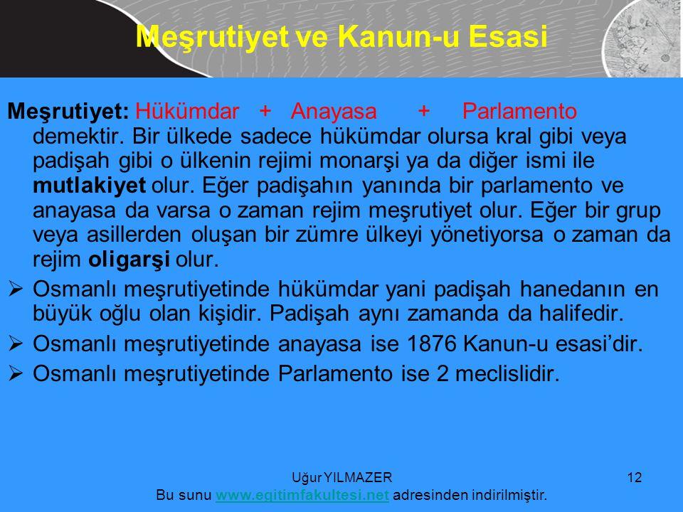 Meşrutiyet: Hükümdar + Anayasa + Parlamento demektir.