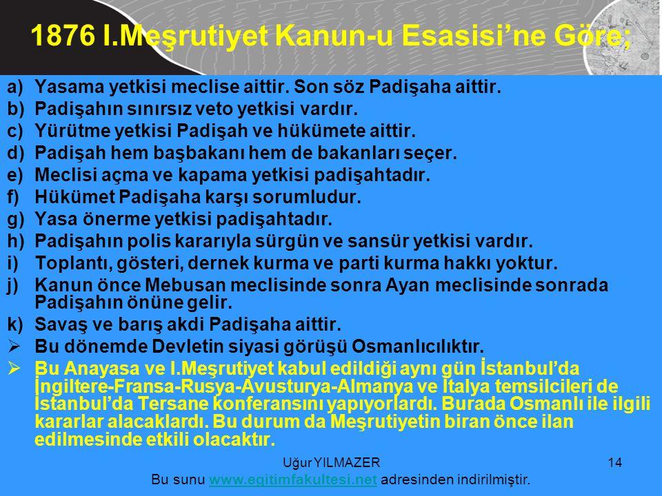 a)Yasama yetkisi meclise aittir.Son söz Padişaha aittir.