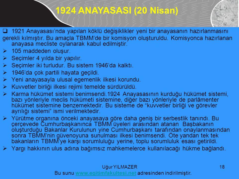  1921 Anayasası'nda yapılan köklü değişiklikler yeni bir anayasanın hazırlanmasını gerekli kılmıştır.