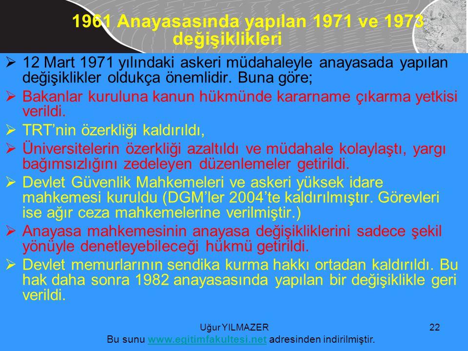  12 Mart 1971 yılındaki askeri müdahaleyle anayasada yapılan değişiklikler oldukça önemlidir.